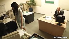 Asian babe getting fucked on the office table