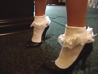 Frilly sissyboy fetish Frilly socks 084