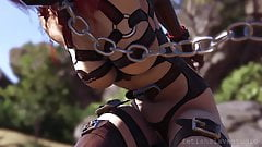 heavy rubber man bondage and fuck with his three latex siste