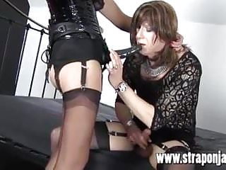 Tranny cum heaven Sexy dom fucks tranny sluts tight ass and makes her cum