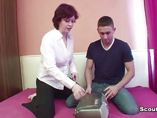Mother fucks young son German mother fucks with not her step-son when dad not home