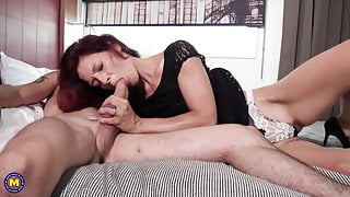 Skinny mother suck and fuck lucky bald boy