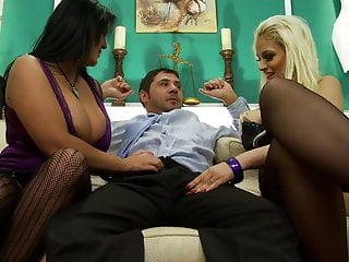 Luxery seductive lingerie Seductive girls give their man a pleasuring handjob then rewarded with a rough fuck