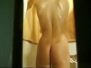 Butt naked banging on the bathroom door Spying behind the bathroom door