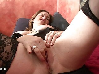 Mature playing with sex toys dildos Kinky housewife playing with a huge dildo