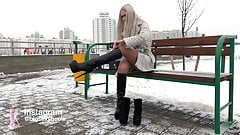 VERY HOT russian teen walking in hot high heeled boots