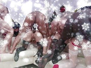 Stocking heels sex - New years anal gangbang of 10 girls.