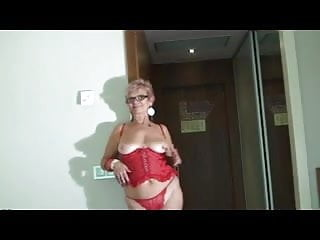 Amateur lingerie spread - Granny in glasses and red lingerie and stockings spreads