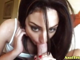 Riding hard cock - Analfuck brunette gf riding hard cock