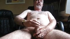 Daddy bear jerking off on chair