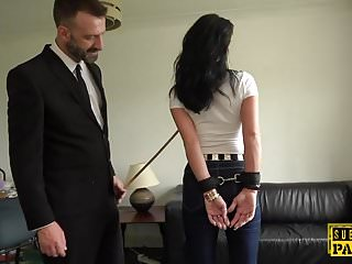 Uk milf dauters - Handcuffed uk milf edged while cockriding dom
