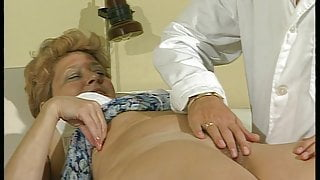 Young doctor bangs granny patient