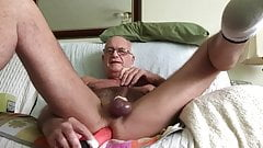 Grandpa inserts a dildo up his ass and plays with himself