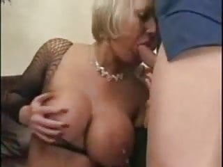 Fishnet porn stocking - Blonde milf with huge tits in fishnets sm65