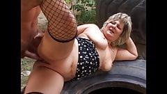 Older mom in outdoor sex