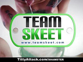 Cute busty teen girl Teamskeet - cute busty teen gives messy handjob