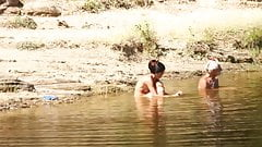 Couple have sex at small lake