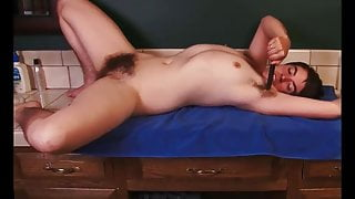 hairy pussy, hairy nipples, hairy ass babe masterbates