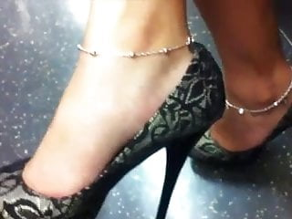 London underground piss take song High heel dangle on the london underground train