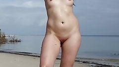 Naked woman talking