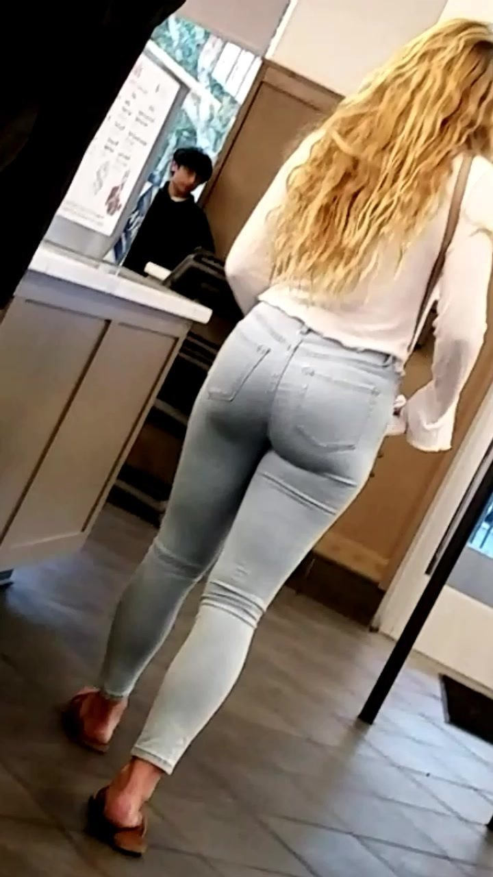 Hot Brunette Tight Jeans