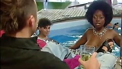 Topless girls in UK reality show, with big black boobs