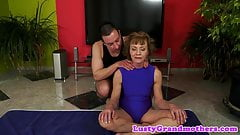Alluring grandma banged by her yoga teacher