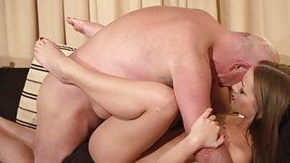 Teen brunette Anna G fucked by old man William