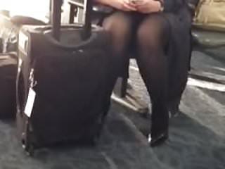 Flight attendants upskirt pantyhose - Pantyhose upskirt of my favorite flight attendant