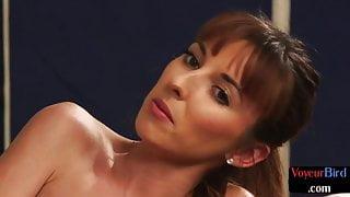 Busty UK voyeur dirty talks to wanking subject