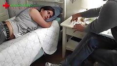 beautiful girl in white satin receives injection from man