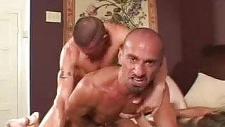 Hot gays in tats threeway banging.
