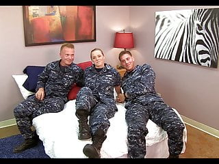 Adult costume navy uniform Cute navy girl fucked by two mates