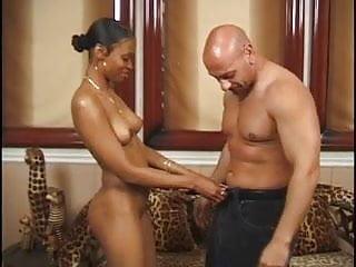 Coachs huge cock Black slut sucks and rides cock on jaguar coach