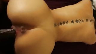 Tattooed asian takes a BBC doggystyle