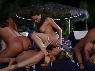 Pool party orgies Cougar pool party with tribbing