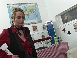 Maid of honor gets sex first - Hot maid and slutty blonde get fucked in an office