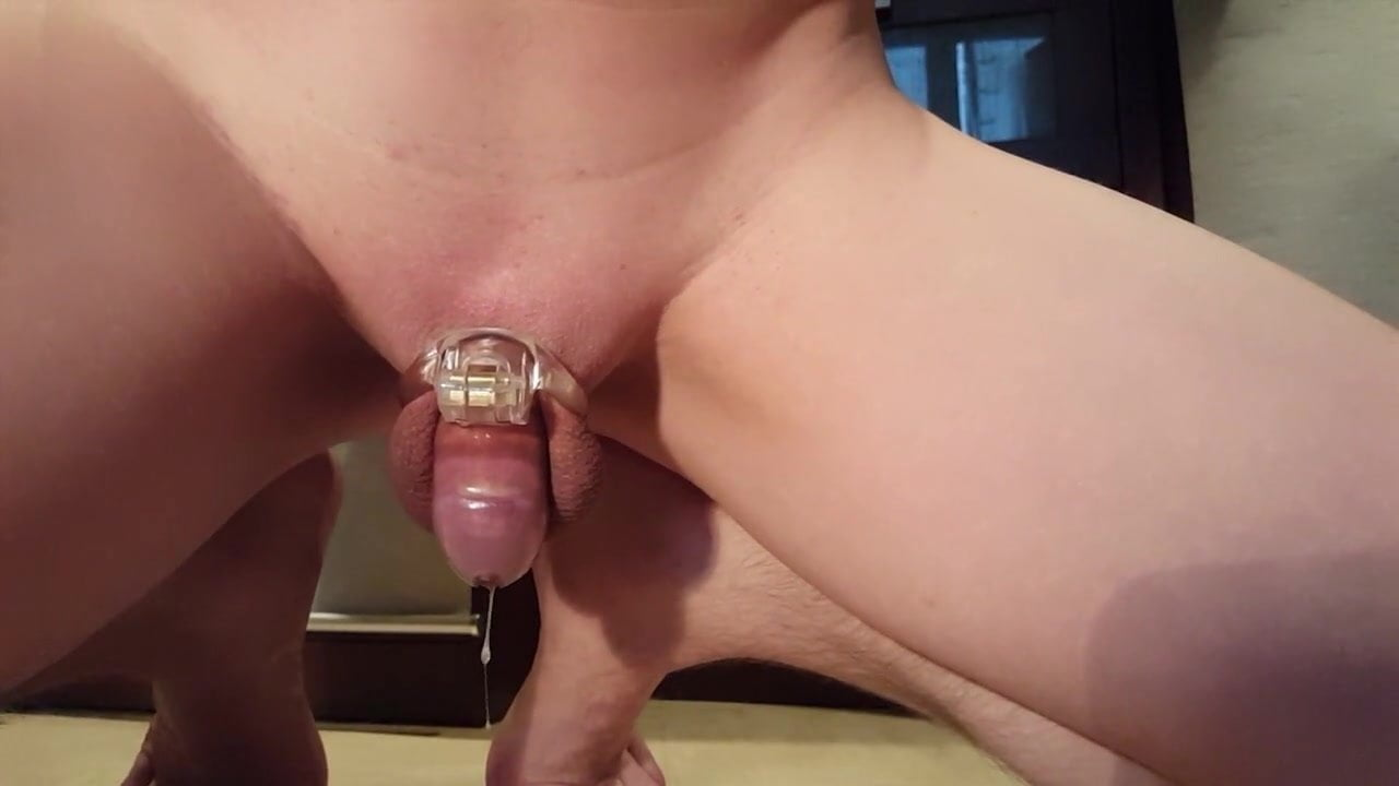 Cumming With Chastity Cage On