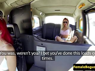 Redhead backseat banngers Female british cabbie pussylicks on backseat