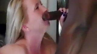 Hot Blonde slut, sucks and fucks while hubby records