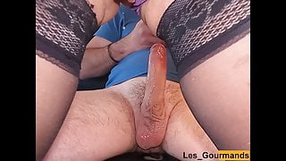 MILF wanks her husband's big cock and sits on it to be filled