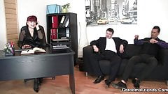 Sexy office mature boss swallows two cocks at once
