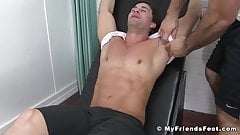 Bound hunk is tickle tormented by his muscular master