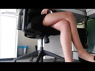 Upskirt tease under table - Legs under table