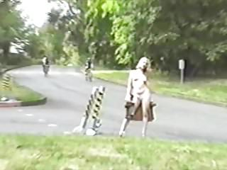 Wild biker rally pussy in public - Roadside blonde flashes cars and bikers in public