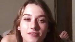18 year old BABE gives sloppy handjob gets facial