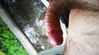 Trucker piss and cum in a public park