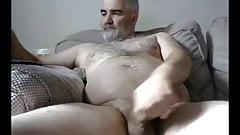 UK Silver Hair Daddy Wank his Fat Cock