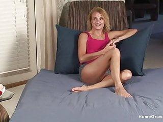 Flat boobs milf Flat chested blonde milf masturbates with her vibrator