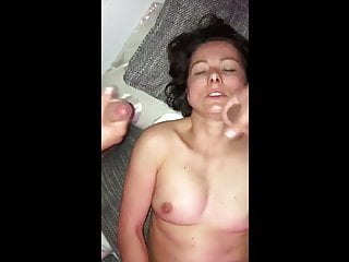 Cum on mom video Mom lets son and friend cum on her face. hot